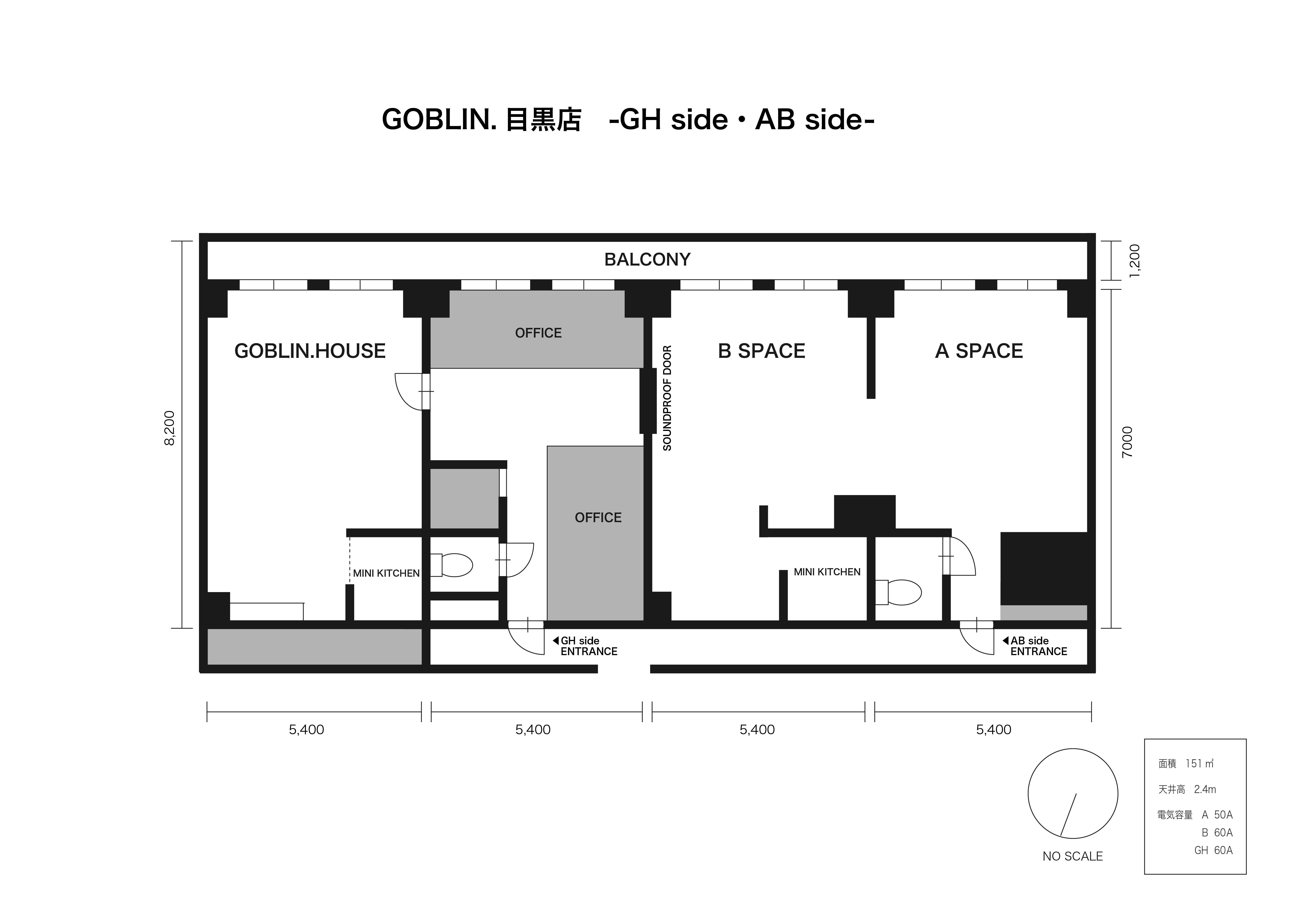 目黒店 -GH side-平面図