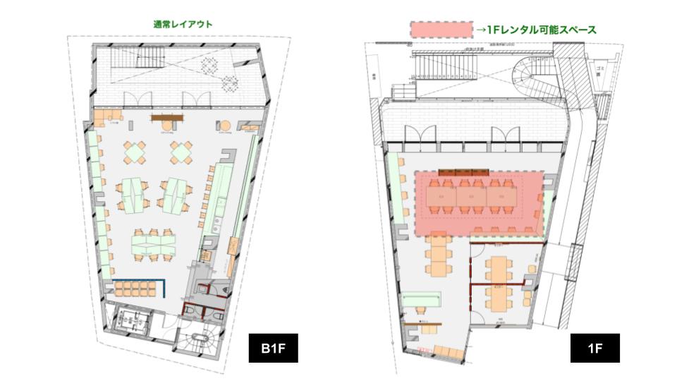 下北沢CAFE&OFFICE店平面図